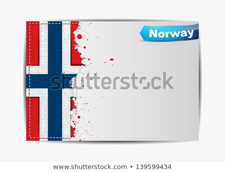 Stitched Norway flag with grunge paper frame Stock photo © maxmitzu