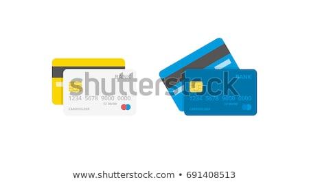 синий кредитных карт рисунок толпа люди Мир карта Сток-фото © xedos45