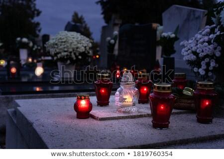 Avond begraafplaats bomen gras tuin tijd Stockfoto © w20er