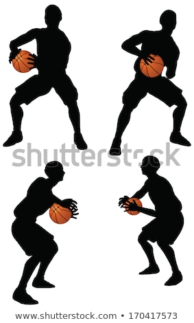 basketball players silhouette collection in hold position stock photo © istanbul2009