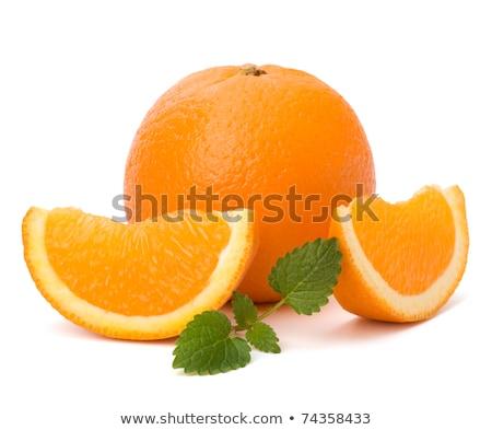 Orange fruit segment and citron mint leaf Stock photo © natika