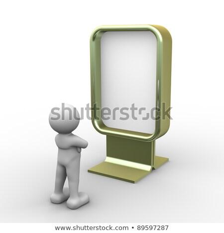 3d white man and large blank billboard Stock photo © cherezoff