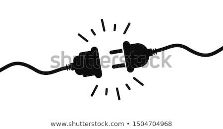 Plug черный изолированный белый квадратный изображение Сток-фото © Koufax73