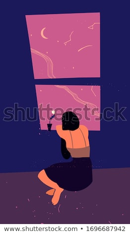 Cartoon · ventana · vector · flor · pared - foto stock © pugovica88