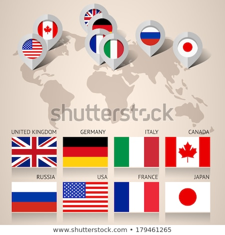Set of Flat Map Pointers With World States Flags Stock photo © Voysla