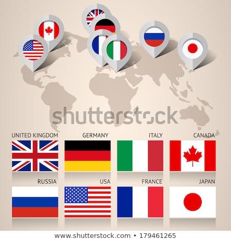 Oroszország · Amerika · zászló · zászlók · világtérkép · szett - stock fotó © voysla
