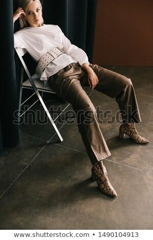 portret · aantrekkelijk · blonde · vrouw · dier · print · jurk - stockfoto © zastavkin