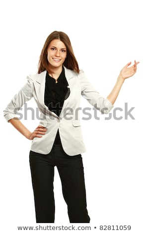 Full length of relaxed beautiful young business woman smiling stock photo © darrinhenry