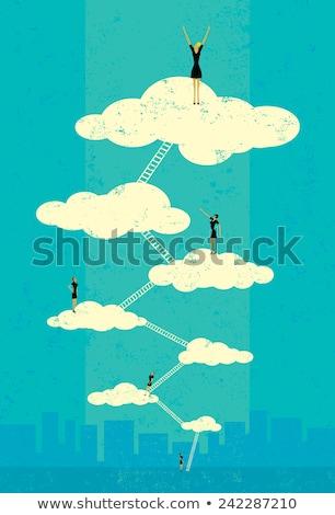 Cennet iki aşıklar oturma bulutlar Stok fotoğraf © tiKkraf69