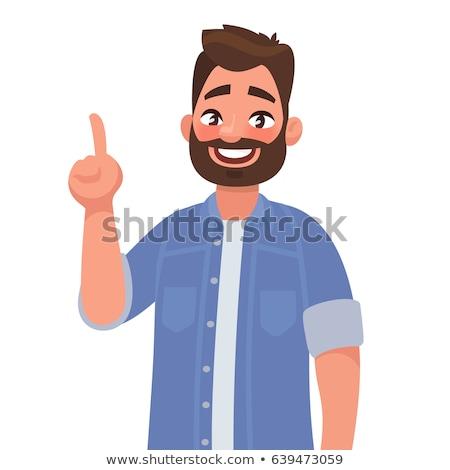 Fumetto cartoon intelligente uomo punta retro Foto d'archivio © lineartestpilot
