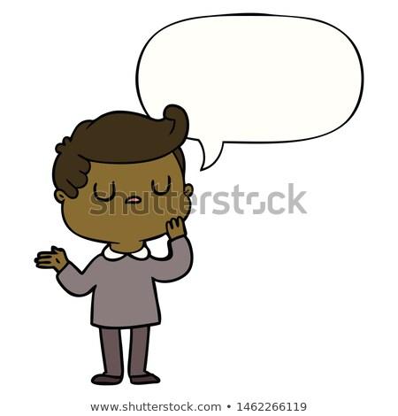 Karikatür kibirli erkek konuşma balonu el adam Stok fotoğraf © lineartestpilot