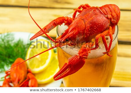 Crayfish with lemon and dill Stock photo © ulyankin
