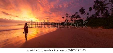 Lady песчаный тропический пляж закат красивой блондинка Сток-фото © kasto