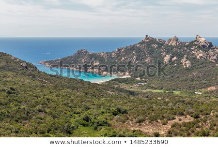 Lion, tower and beach at Roccapina in southern Corsica Stock photo © Joningall
