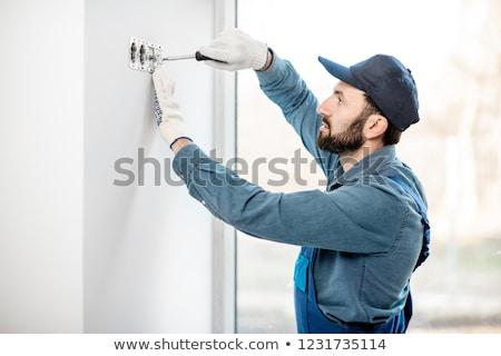 Technik gniazdo ściany domu Zdjęcia stock © AndreyPopov