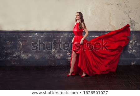 Elegance. Stylish Lady in Red Silky Dress Stock photo © gromovataya