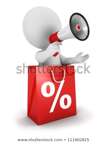 3次元の男 ショッピングバッグ スピーカー 白 角度 表示 ストックフォト © nithin_abraham