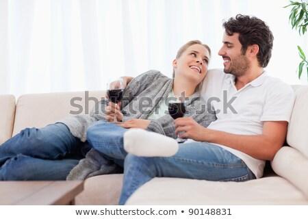 ritratto · felice · seduta · divano · insieme - foto d'archivio © wavebreak_media
