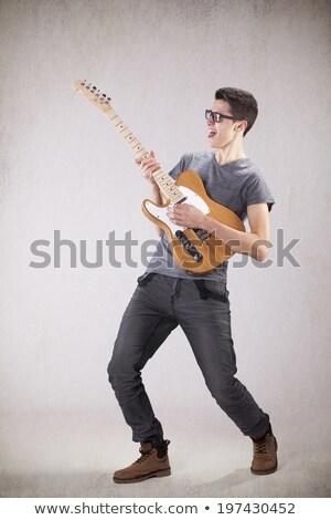 молодые · Cool · гитарист · играет · электрической · гитаре · белый - Сток-фото © deandrobot