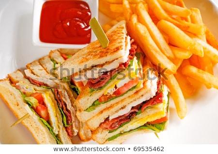 трехслойный · бутерброд · свежие · картофель · фри · сторона · сыра · обеда - Сток-фото © keko64