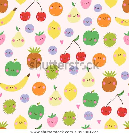 vicces · gyümölcsök · emotikon · arcok · minta · dzsúz - stock fotó © natalya_zimina