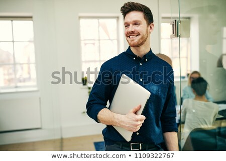 человека · костюм · ноутбука · белый - Сток-фото © dgilder