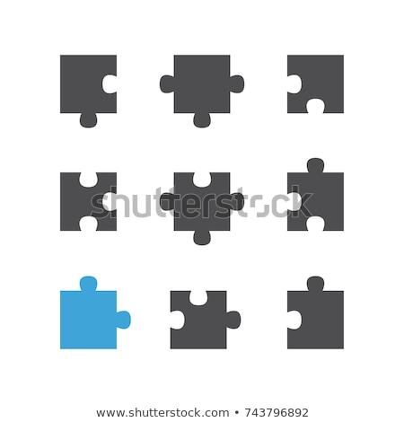 szürke · kirakó · darabok · hézag · siker · fehér · játék - stock fotó © Oakozhan
