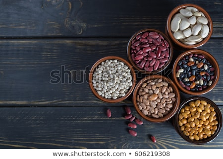 Stockfoto: Assortment Of Kidney Beans In A Wooden Bowls With Copy Space On White Wood Background Top View Clo