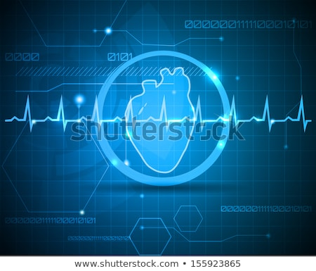 human heart medical illustration on a bright red background stock photo © tefi