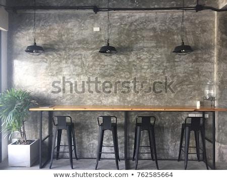 lépcső · étterem · sötét · fekete · korlát · fal - stock fotó © bezikus