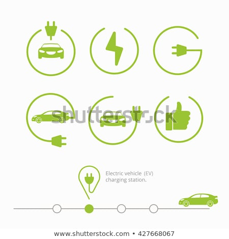 Electric powered car and charging point icons Stock photo © oblachko