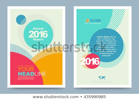 Vector template leaflet design with color lines Stock photo © fresh_5265954