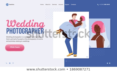 Stock photo: Photographer taking photo of newly married couple