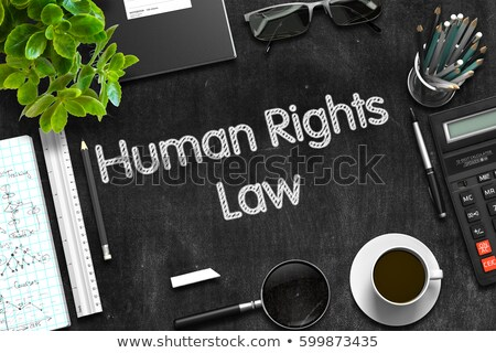 Human Rights Law on Black Chalkboard. 3D Rendering. Stock photo © tashatuvango