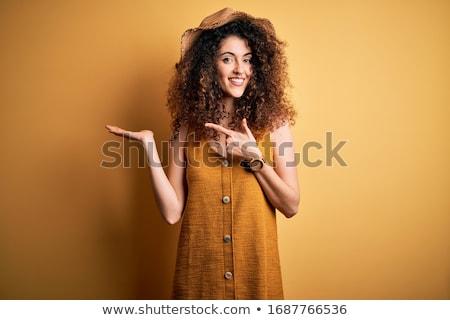 studio · portret · mooie · vrouw · glimlachend - stockfoto © dashapetrenko