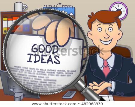 Bom idéias lupa rabisco papel mão Foto stock © tashatuvango