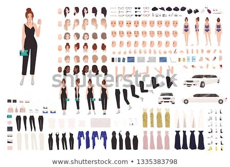 Divat női 25 hajstílusok szemek 30 Stock fotó © ddraw