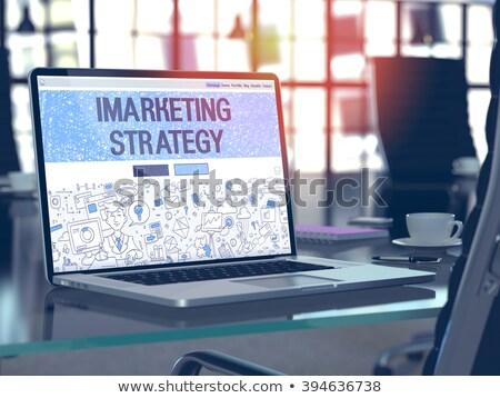 Leszállás oldal laptop 3D modern konferenciaterem Stock fotó © tashatuvango