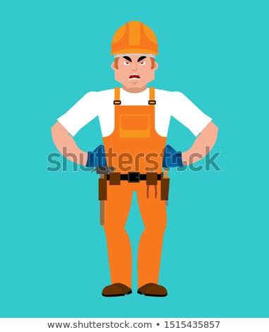 Bouwer boos werknemer helm kwaad dienst Stockfoto © popaukropa