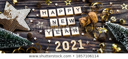 Gold Happy New Year Background with Champagne Stock photo © derocz