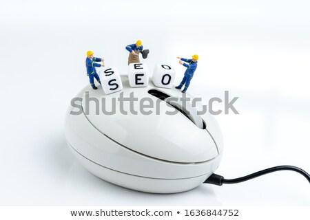 Seo persoon klikken toetsenbord knop Blauw Stockfoto © tashatuvango
