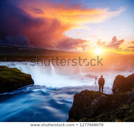 Great rapid flow of water powerful Godafoss cascade. Location pl Stock photo © Leonidtit