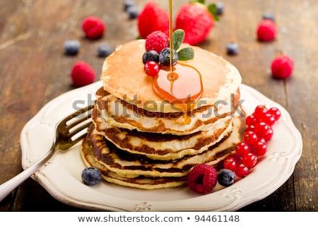 Pancakes With Honey And Strawberries Stock fotó © Francesco83