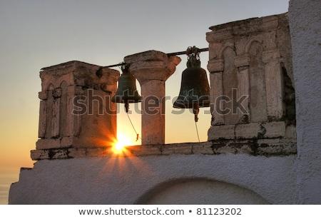 igreja · santorini · nascer · do · sol · imagem · grego · ilha - foto stock © is2