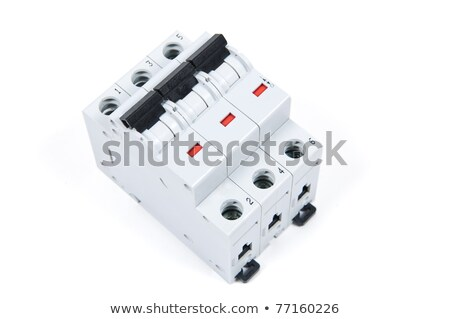 Stock photo: three phase safety switch in OFF position