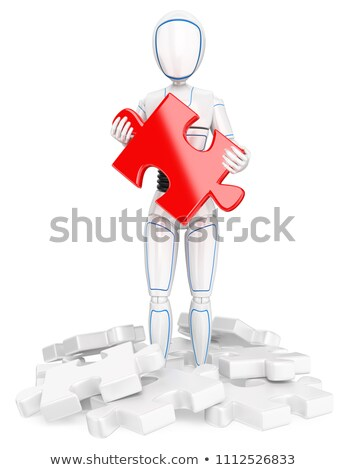 3D Humanoid robot with a red puzzle piece. Find the solution Stock photo © texelart