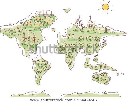Dünya haritası bahçe çim sarmaşıklar örnek harita Stok fotoğraf © lenm