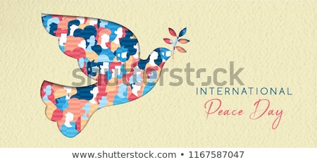 World Peace Day cutout concept illustration banner Stock photo © cienpies