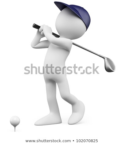 3d person with golf club Stock photo © AlexMas