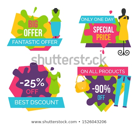 Big Fantastic Offer Now Bright Promotional Emblems Stock photo © robuart